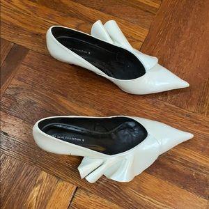 White ruffle kitten heel